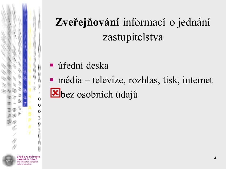 4 Zveřejňování informací o jednání zastupitelstva  úřední deska  média – televize, rozhlas, tisk, internet  bez osobních údajů