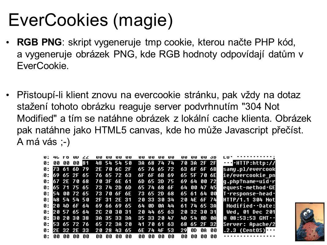 EverCookies (magie) RGB PNG: skript vygeneruje tmp cookie, kterou načte PHP kód, a vygeneruje obrázek PNG, kde RGB hodnoty odpovídají datům v EverCookie.