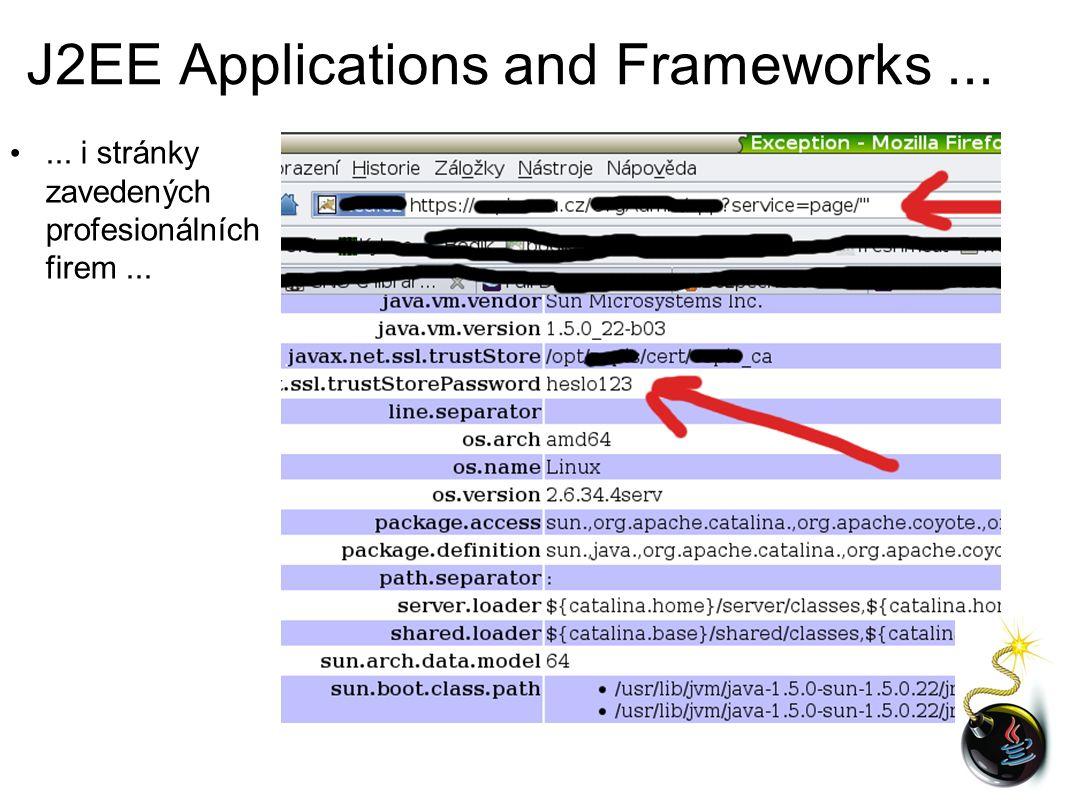 J2EE Applications and Frameworks...... i stránky zavedených profesionálních firem...
