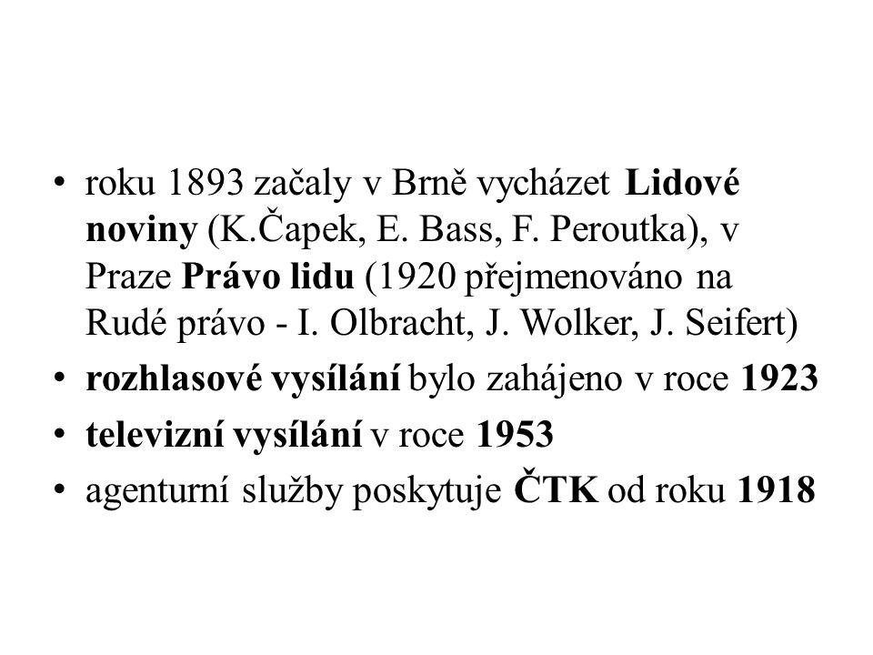 roku 1893 začaly v Brně vycházet Lidové noviny (K.Čapek, E. Bass, F. Peroutka), v Praze Právo lidu (1920 přejmenováno na Rudé právo - I. Olbracht, J.