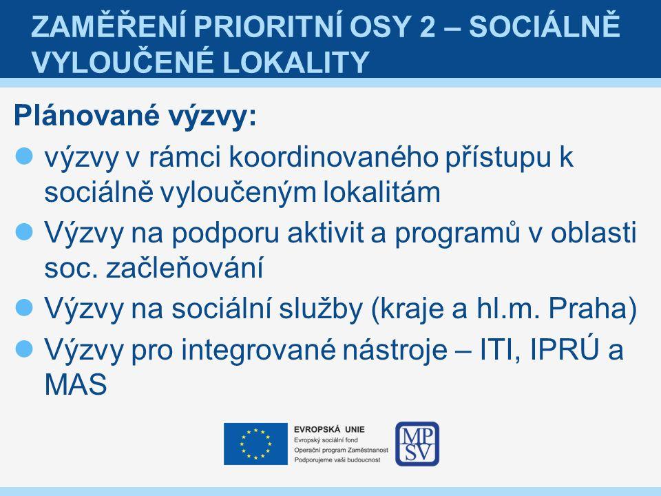 ZAMĚŘENÍ PRIORITNÍ OSY 2 – SOCIÁLNĚ VYLOUČENÉ LOKALITY Plánované výzvy: výzvy v rámci koordinovaného přístupu k sociálně vyloučeným lokalitám Výzvy na podporu aktivit a programů v oblasti soc.