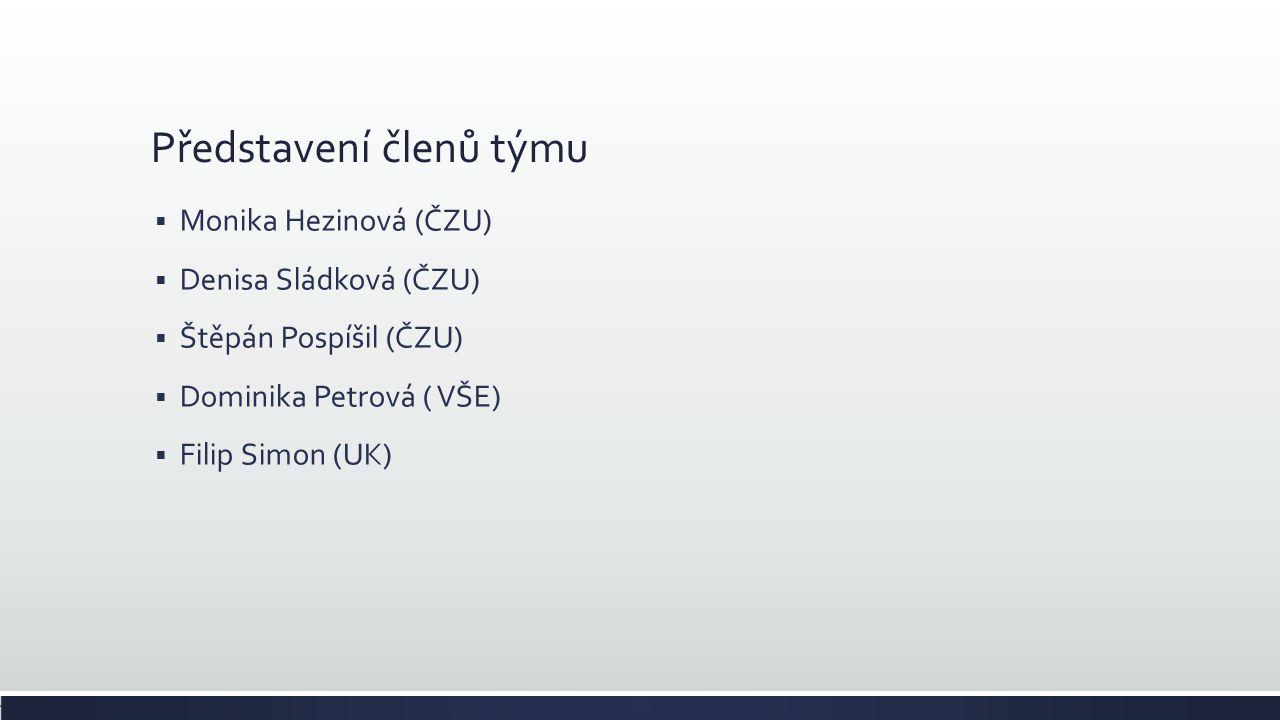 Představení členů týmu  Monika Hezinová (ČZU)  Denisa Sládková (ČZU)  Štěpán Pospíšil (ČZU)  Dominika Petrová ( VŠE)  Filip Simon (UK)