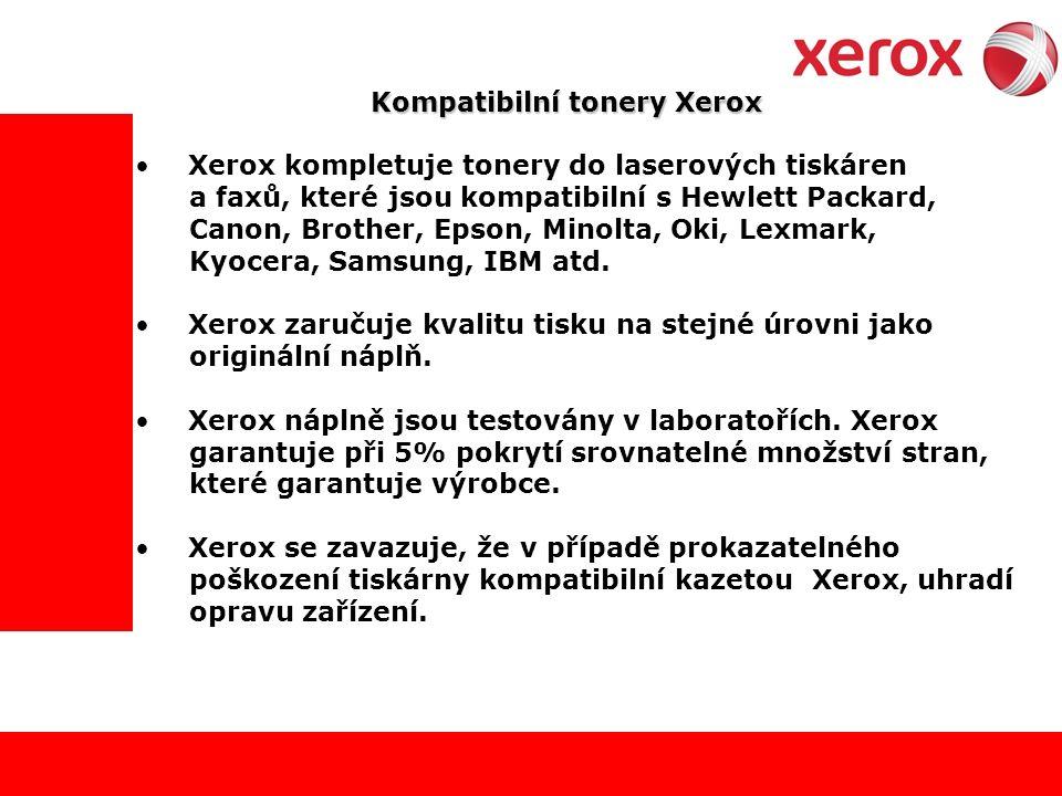 Kompatibilní tonery Xerox Xerox kompletuje tonery do laserových tiskáren a faxů, které jsou kompatibilní s Hewlett Packard, Canon, Brother, Epson, Minolta, Oki, Lexmark, Kyocera, Samsung, IBM atd.