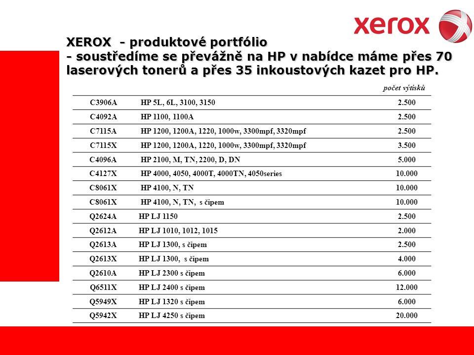 XEROX - produktové portfólio - soustředíme se převážně na HP v nabídce máme přes 70 laserových tonerů a přes 35 inkoustových kazet pro HP.