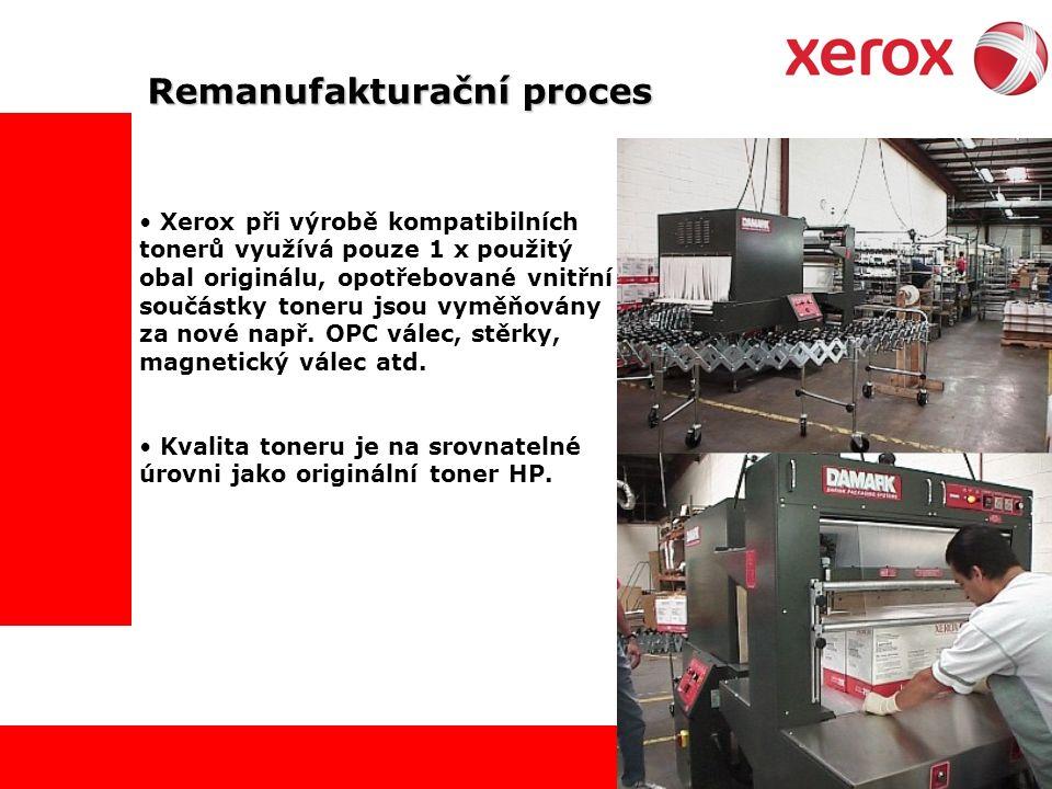 Remanufakturační proces Xerox při výrobě kompatibilních tonerů využívá pouze 1 x použitý obal originálu, opotřebované vnitřní součástky toneru jsou vyměňovány za nové např.