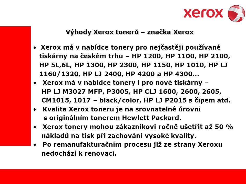 Výhody Xerox tonerů – značka Xerox Xerox má v nabídce tonery pro nejčastěji používané tiskárny na českém trhu – HP 1200, HP 1100, HP 2100, HP 5L,6L, HP 1300, HP 2300, HP 1150, HP 1010, HP LJ 1160/1320, HP LJ 2400, HP 4200 a HP 4300...