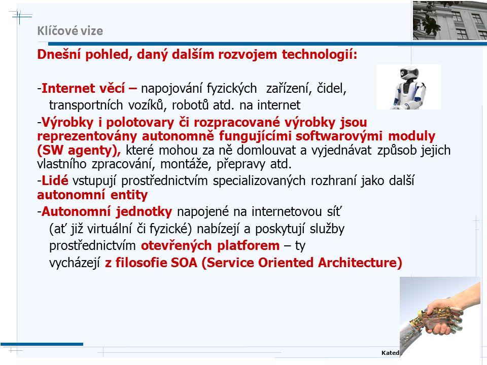 Katedra kybernetiky, ČVUT FEL Klíčové vize Dnešní pohled, daný dalším rozvojem technologií: -Internet věcí – napojování fyzických zařízení, čidel, transportních vozíků, robotů atd.