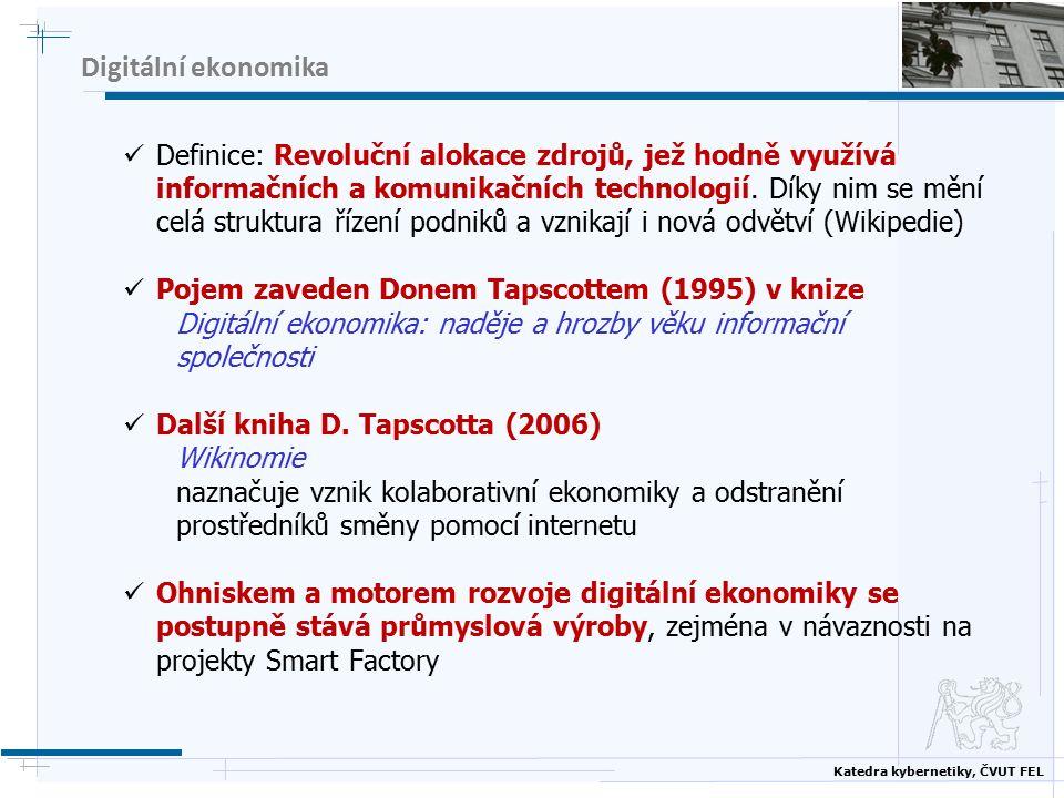Katedra kybernetiky, ČVUT FEL Digitální ekonomika Definice: Revoluční alokace zdrojů, jež hodně využívá informačních a komunikačních technologií.