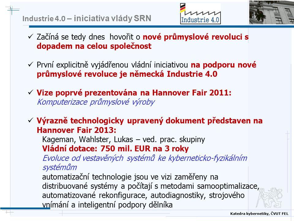 Katedra kybernetiky, ČVUT FEL Klíčové vize Hlavní myšlenka: Počítačovým propojením výrobních strojů, opracovávaných produktů a polotovarů všech osob zapojených do procesů (prostřednictvím rozhraní) všech dalších systémů a subsystémů průmyslového podniku vytvořit inteligentní distribuovanou síť různorodých entit podél celého řetězce vytvářejícího hodnotu, přičemž subsystémy pracují relativně autonomně a paralelně, navzájem dle potřeby komunikují – každý fyzický systém má své virtuální dvojče či virutální obraz ve virtuálním světě Propojení internetu věcí a internetu služeb = vytvoření kyberneticko – fyzického prostoru, v němž jsou už jen nejasné hranice mezi reálnem a virtuálnem, které se dle potřeby posouvají Postupně se objevuje třetí dimenze, kterou nelze ignorovat: vedle dvou technologicky orientovaných světů, fyzického světa výrobního a virtuálního světa služeb je třeba počítat i se světem sociálním, který začíná s oběma technologickými silně interagovat