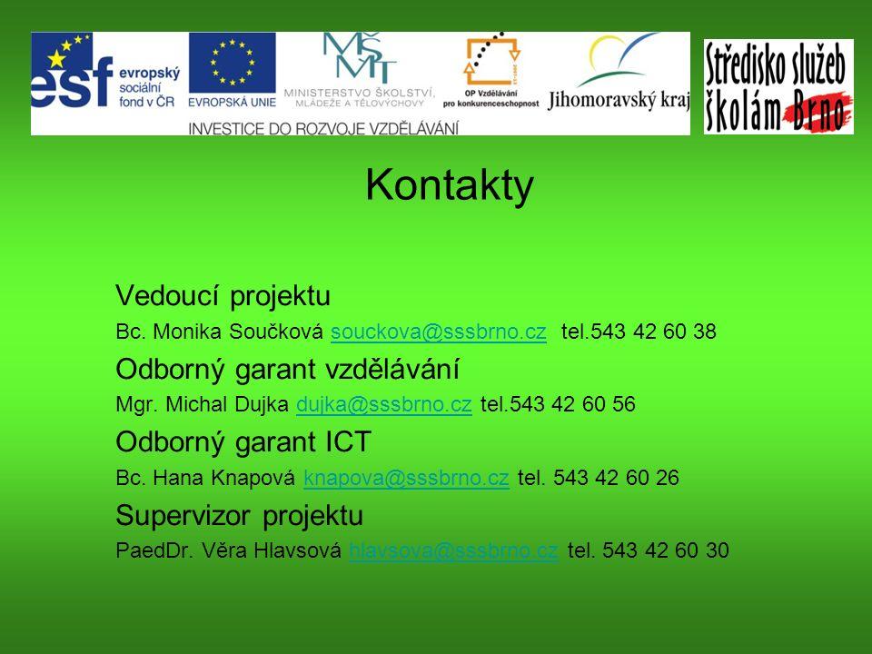 Kontakty Vedoucí projektu Bc.