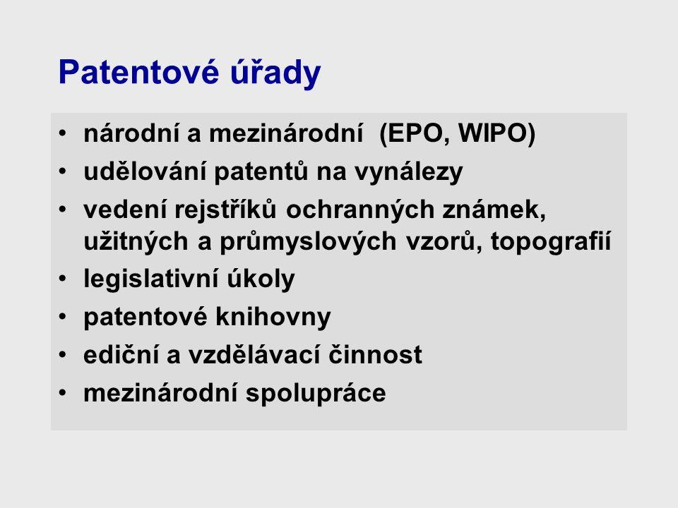 Patentové úřady národní a mezinárodní (EPO, WIPO) udělování patentů na vynálezy vedení rejstříků ochranných známek, užitných a průmyslových vzorů, topografií legislativní úkoly patentové knihovny ediční a vzdělávací činnost mezinárodní spolupráce
