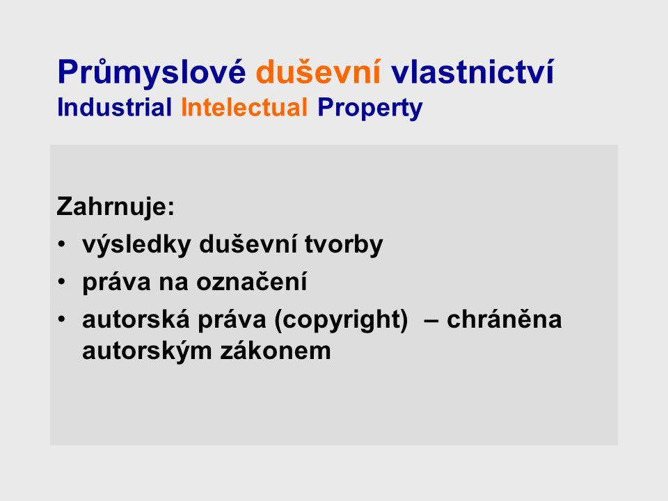 Průmyslové duševní vlastnictví Industrial Intelectual Property Zahrnuje: výsledky duševní tvorby práva na označení autorská práva (copyright) – chráněna autorským zákonem
