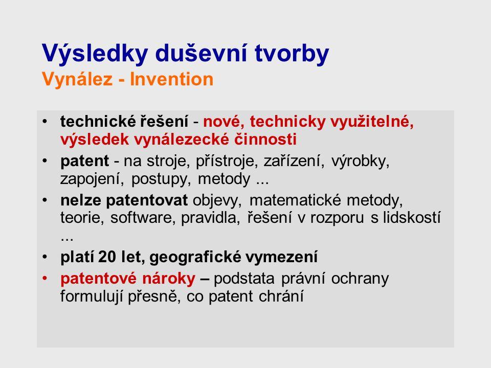 Výsledky duševní tvorby Vynález - Invention technické řešení - nové, technicky využitelné, výsledek vynálezecké činnosti patent - na stroje, přístroje, zařízení, výrobky, zapojení, postupy, metody...