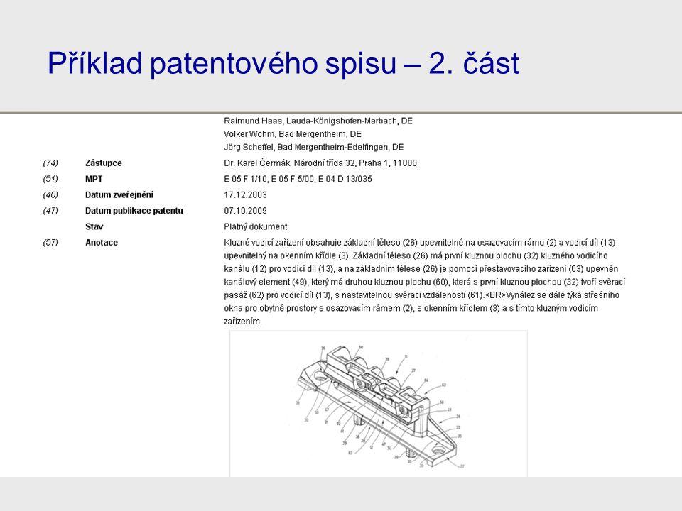 Příklad patentového spisu – 2. část