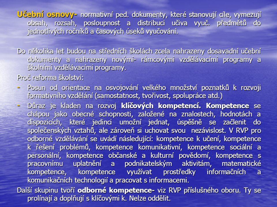 Učební osnovy- normativní ped.