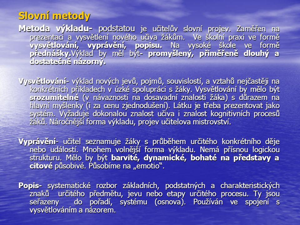 Slovní metody Metoda výkladu- podstatou je učitelův slovní projev. Zaměřen na prezentaci a vysvětlení nového učiva žákům. Ve školní praxi ve formě vys