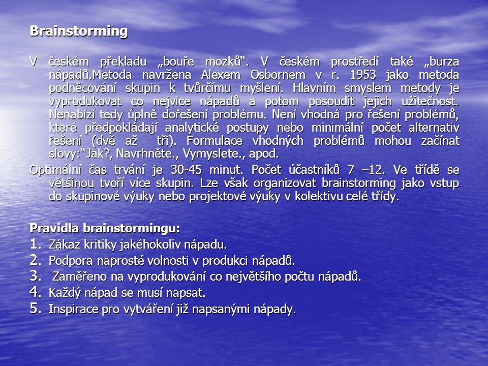 """Brainstorming V českém překladu """"bouře mozků"""". V českém prostředí také """"burza nápadů.Metoda navržena Alexem Osbornem v r. 1953 jako metoda podněcování"""
