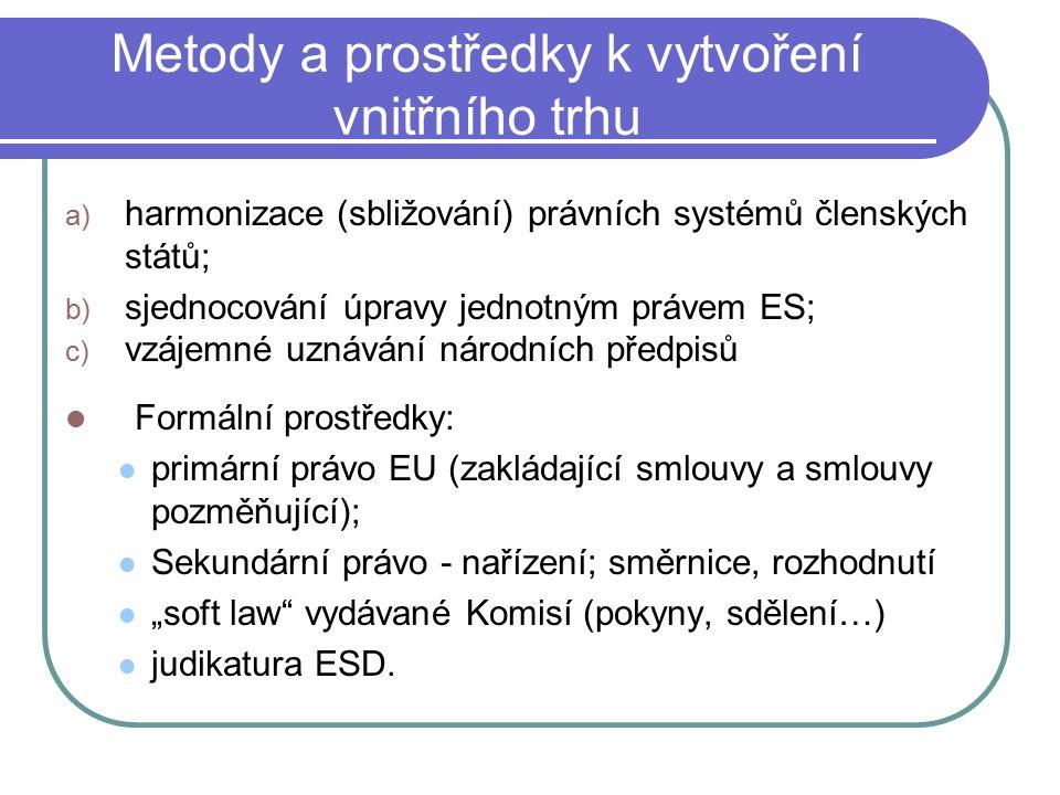 """Metody a prostředky k vytvoření vnitřního trhu a) harmonizace (sbližování) právních systémů členských států; b) sjednocování úpravy jednotným právem ES; c) vzájemné uznávání národních předpisů Formální prostředky: primární právo EU (zakládající smlouvy a smlouvy pozměňující); Sekundární právo - nařízení; směrnice, rozhodnutí """"soft law vydávané Komisí (pokyny, sdělení…) judikatura ESD."""