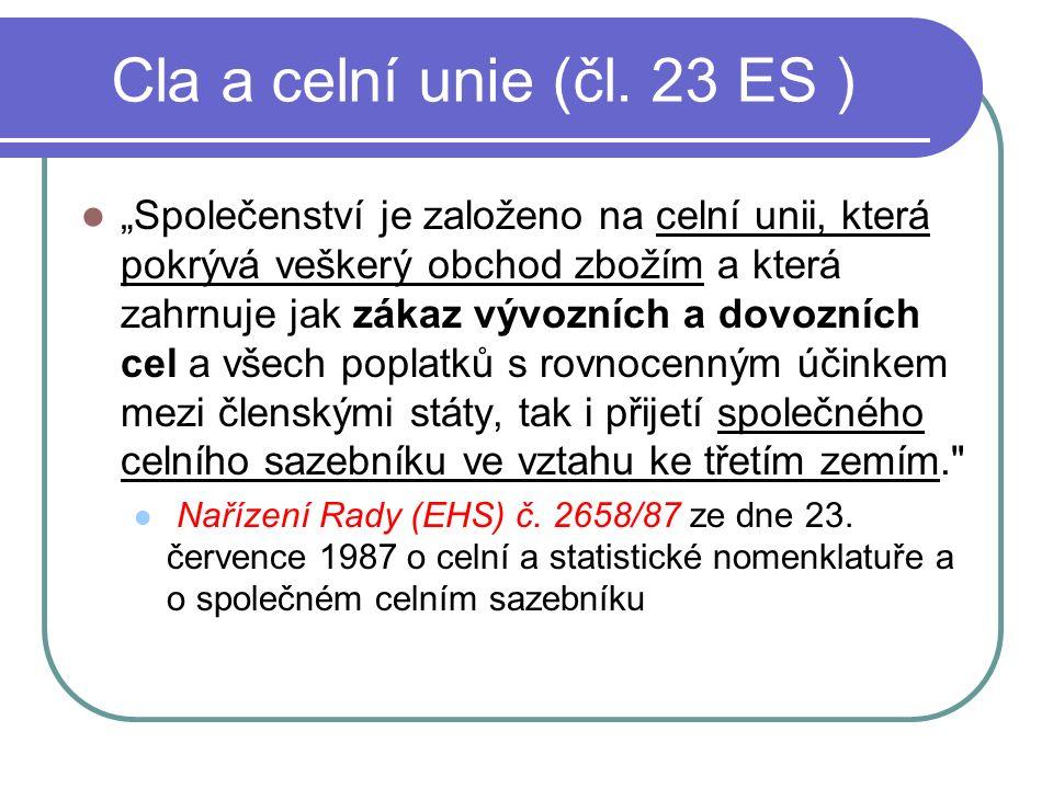 Cla a celní unie (čl.