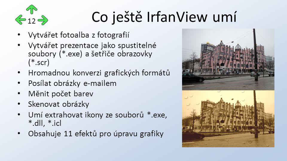 Vytvářet fotoalba z fotografií Vytvářet prezentace jako spustitelné soubory (*.exe) a šetřiče obrazovky (*.scr) Hromadnou konverzi grafických formátů Posílat obrázky e-mailem Měnit počet barev Skenovat obrázky Umí extrahovat ikony ze souborů *.exe, *.dll, *.icl Obsahuje 11 efektů pro úpravu grafiky Co ještě IrfanView umí 12