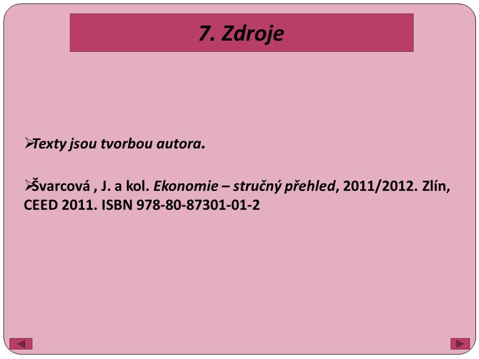 7. Zdroje  Texty jsou tvorbou autora.  Švarcová, J.