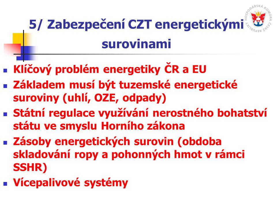 5/ Zabezpečení CZT energetickými surovinami Klíčový problém energetiky ČR a EU Základem musí být tuzemské energetické suroviny (uhlí, OZE, odpady) Státní regulace využívání nerostného bohatství státu ve smyslu Horního zákona Zásoby energetických surovin (obdoba skladování ropy a pohonných hmot v rámci SSHR) Vícepalivové systémy
