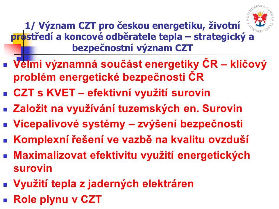 1/ Význam CZT pro českou energetiku, životní prostředí a koncové odběratele tepla – strategický a bezpečnostní význam CZT Velmi významná součást energetiky ČR – klíčový problém energetické bezpečnosti ČR CZT s KVET – efektivní využití surovin Založit na využívání tuzemských en.