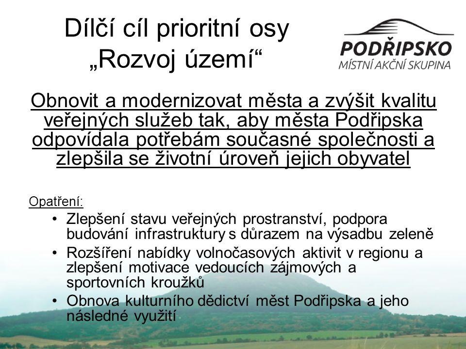 """Dílčí cíl prioritní osy """"Rozvoj území"""" Obnovit a modernizovat města a zvýšit kvalitu veřejných služeb tak, aby města Podřipska odpovídala potřebám sou"""