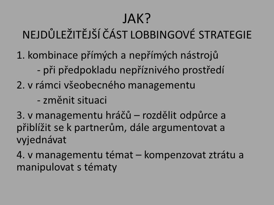 JAK? NEJDŮLEŽITĚJŠÍ ČÁST LOBBINGOVÉ STRATEGIE 1. kombinace přímých a nepřímých nástrojů - při předpokladu nepříznivého prostředí 2. v rámci všeobecnéh