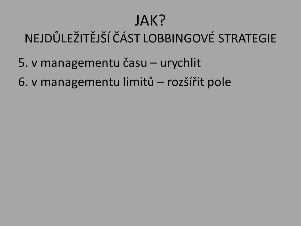 JAK? NEJDŮLEŽITĚJŠÍ ČÁST LOBBINGOVÉ STRATEGIE 5. v managementu času – urychlit 6. v managementu limitů – rozšířit pole