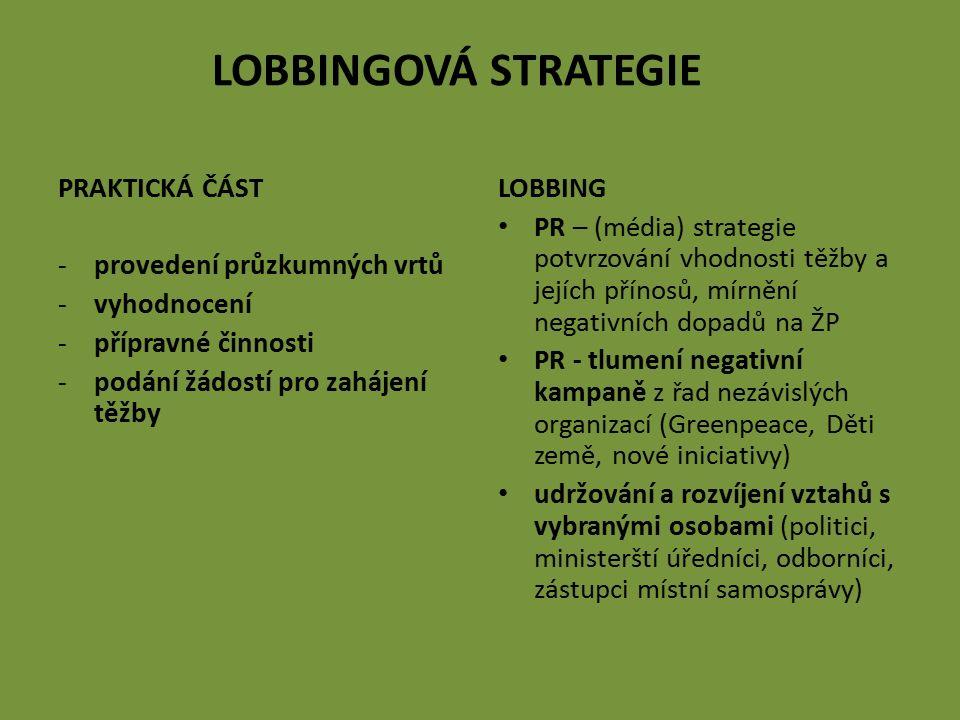 LOBBINGOVÁ STRATEGIE PRAKTICKÁ ČÁST -provedení průzkumných vrtů -vyhodnocení -přípravné činnosti -podání žádostí pro zahájení těžby LOBBING PR – (médi
