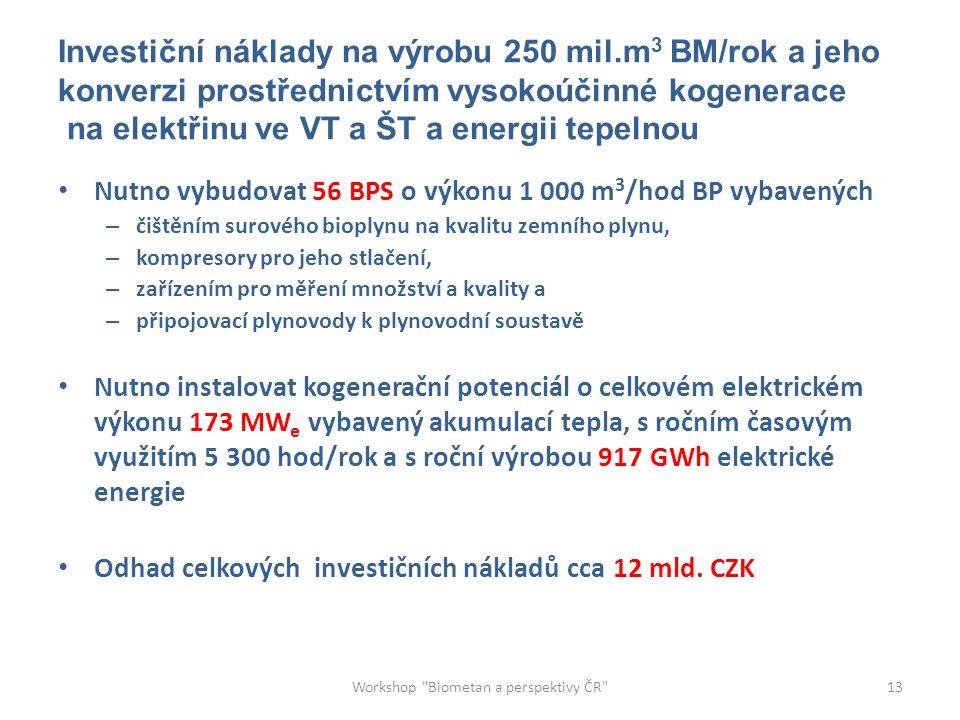 Investiční náklady na výrobu 250 mil.m 3 BM/rok a jeho konverzi prostřednictvím vysokoúčinné kogenerace na elektřinu ve VT a ŠT a energii tepelnou Nutno vybudovat 56 BPS o výkonu 1 000 m 3 /hod BP vybavených – čištěním surového bioplynu na kvalitu zemního plynu, – kompresory pro jeho stlačení, – zařízením pro měření množství a kvality a – připojovací plynovody k plynovodní soustavě Nutno instalovat kogenerační potenciál o celkovém elektrickém výkonu 173 MW e vybavený akumulací tepla, s ročním časovým využitím 5 300 hod/rok a s roční výrobou 917 GWh elektrické energie Odhad celkových investičních nákladů cca 12 mld.