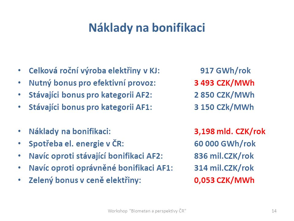 Náklady na bonifikaci Celková roční výroba elektřiny v KJ: 917 GWh/rok Nutný bonus pro efektivní provoz:3 493 CZK/MWh Stávajíci bonus pro kategorii AF2:2 850 CZK/MWh Stávajíci bonus pro kategorii AF1:3 150 CZk/MWh Náklady na bonifikaci:3,198 mld.