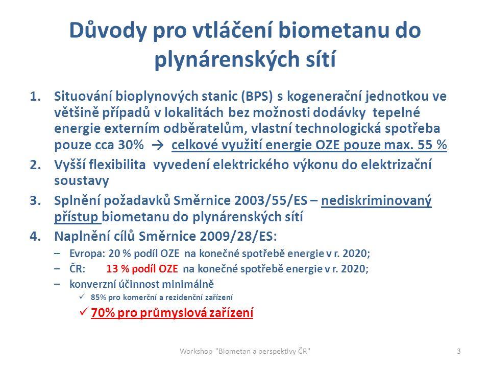Důvody pro vtláčení biometanu do plynárenských sítí 1.Situování bioplynových stanic (BPS) s kogenerační jednotkou ve většině případů v lokalitách bez možnosti dodávky tepelné energie externím odběratelům, vlastní technologická spotřeba pouze cca 30% → celkové využití energie OZE pouze max.