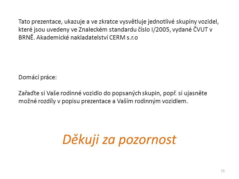 15 Tato prezentace, ukazuje a ve zkratce vysvětluje jednotlivé skupiny vozidel, které jsou uvedeny ve Znaleckém standardu číslo I/2005, vydané ČVUT v BRNĚ.