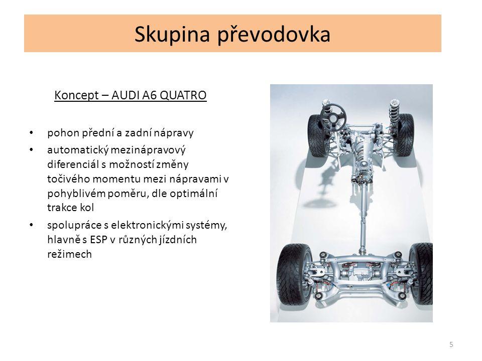 Skupina převodovka Koncept – AUDI A6 QUATRO pohon přední a zadní nápravy automatický mezinápravový diferenciál s možností změny točivého momentu mezi nápravami v pohyblivém poměru, dle optimální trakce kol spolupráce s elektronickými systémy, hlavně s ESP v různých jízdních režimech 5