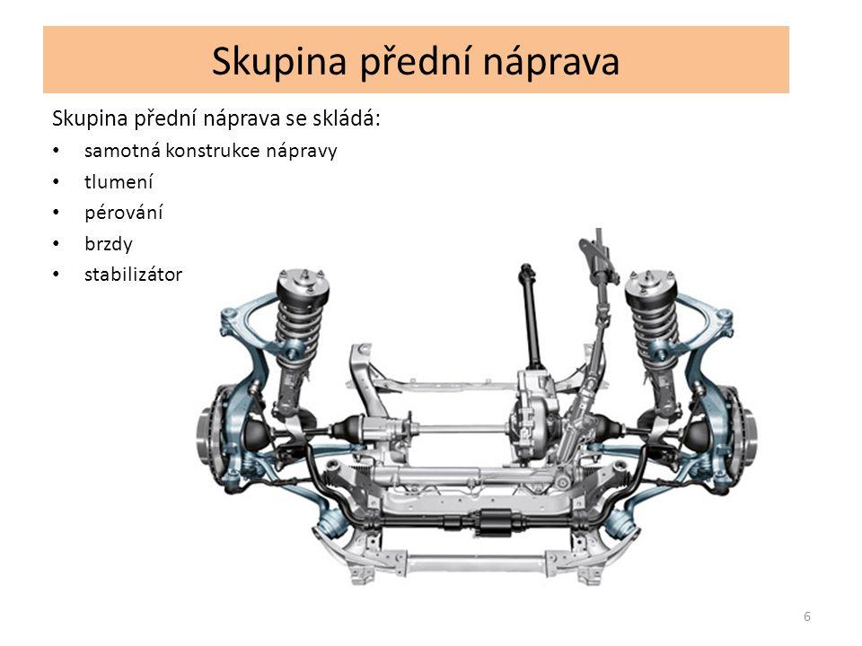 Skupina přední náprava Skupina přední náprava se skládá: samotná konstrukce nápravy tlumení pérování brzdy stabilizátor 6