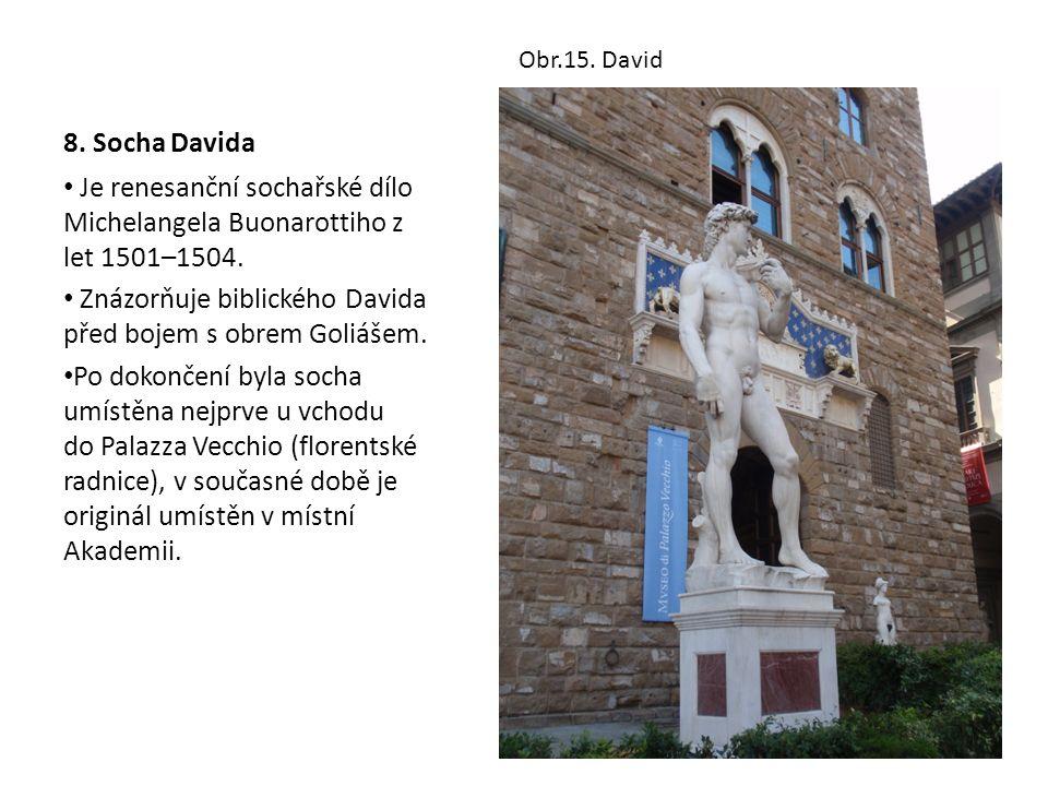 8. Socha Davida Je renesanční sochařské dílo Michelangela Buonarottiho z let 1501–1504. Znázorňuje biblického Davida před bojem s obrem Goliášem. Po d