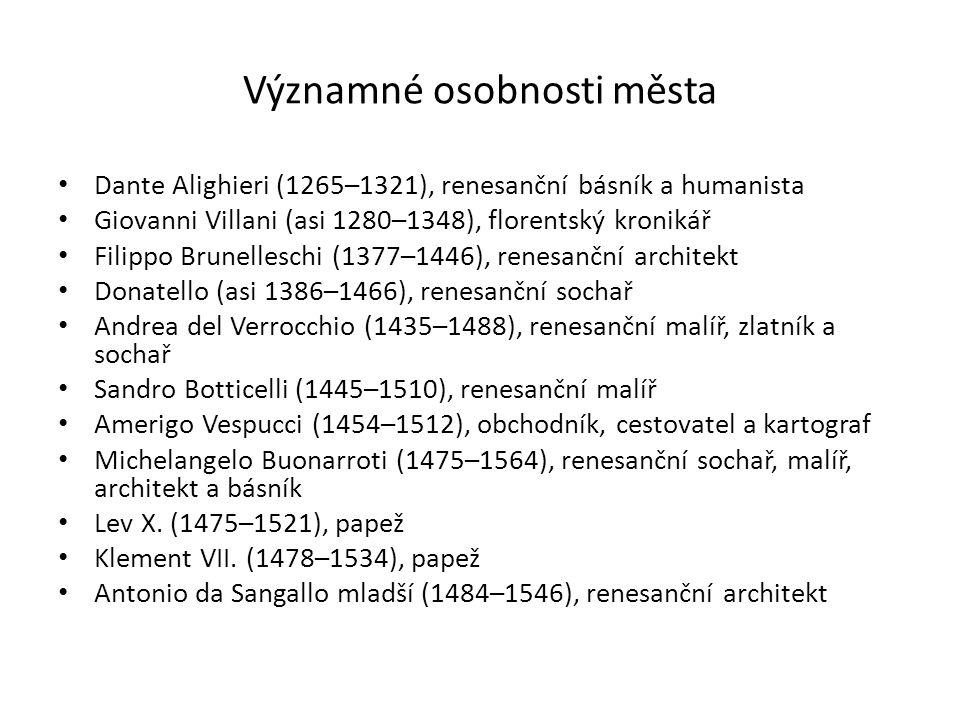 Významné osobnosti města Dante Alighieri (1265–1321), renesanční básník a humanista Giovanni Villani (asi 1280–1348), florentský kronikář Filippo Brun