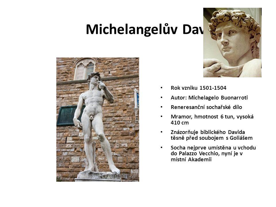 Michelangelův David Rok vzniku 1501-1504 Autor: Michelagelo Buonarroti Reneresanční sochařské dílo Mramor, hmotnost 6 tun, vysoká 410 cm Znázorňuje bi