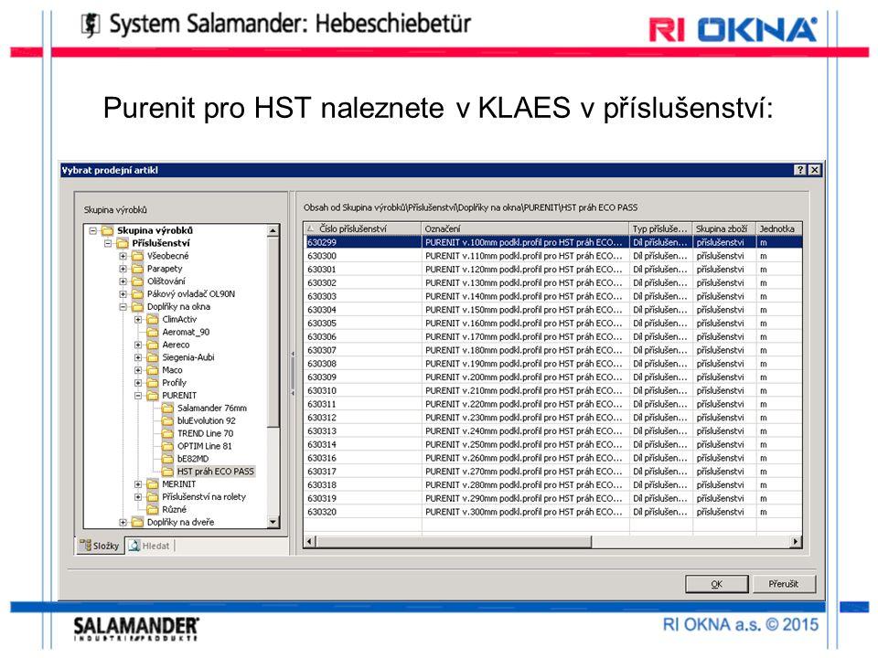 Purenit pro HST naleznete v KLAES v příslušenství: