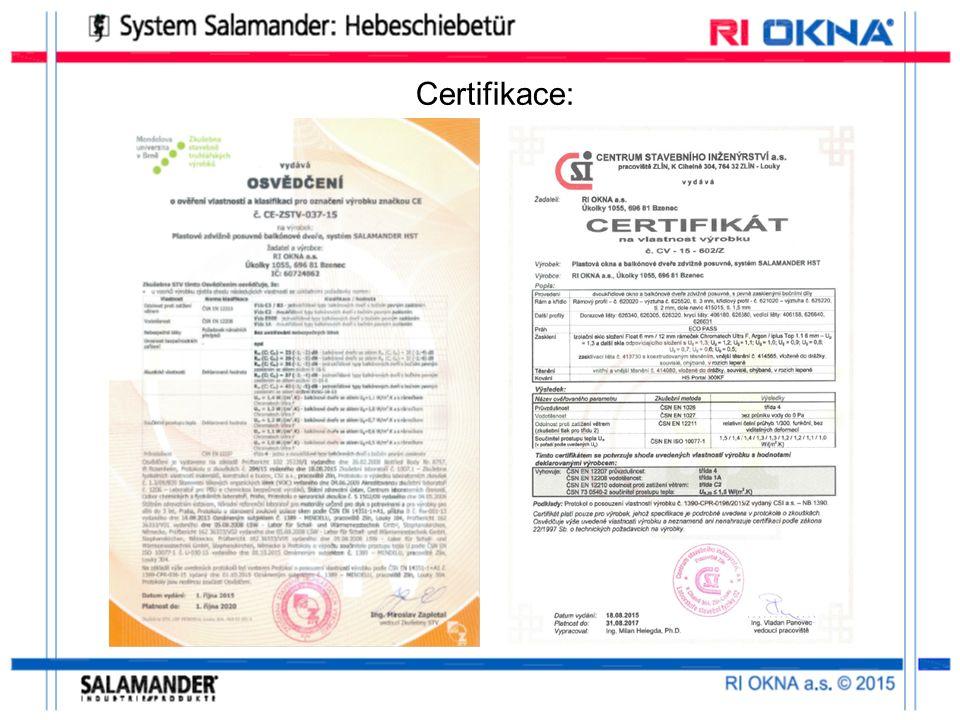 Certifikace: