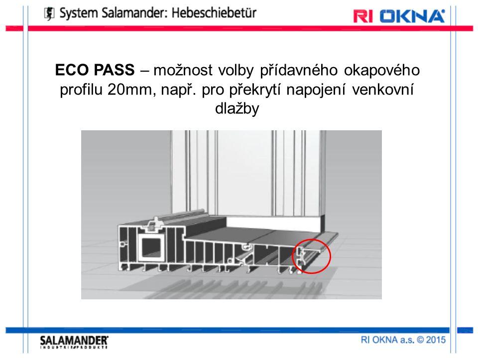 ECO PASS – možnost volby přídavného okapového profilu 20mm, např.