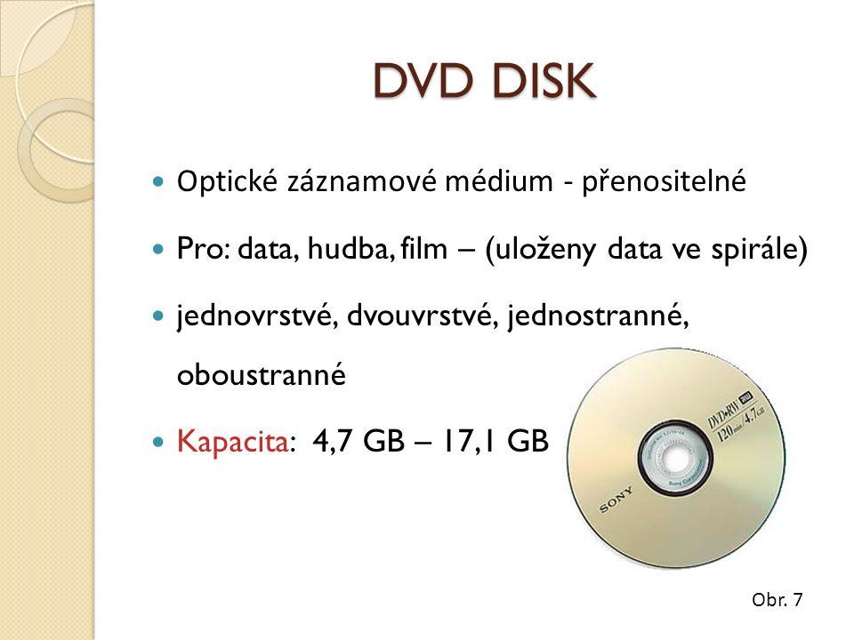 DVD DISK Optické záznamové médium - přenositelné Pro: data, hudba, film – (uloženy data ve spirále) jednovrstvé, dvouvrstvé, jednostranné, oboustranné Kapacita: 4,7 GB – 17,1 GB Obr.