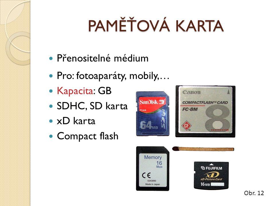 PAMĚŤOVÁ KARTA Přenositelné médium Pro: fotoaparáty, mobily,… Kapacita: GB SDHC, SD karta xD karta Compact flash Obr.