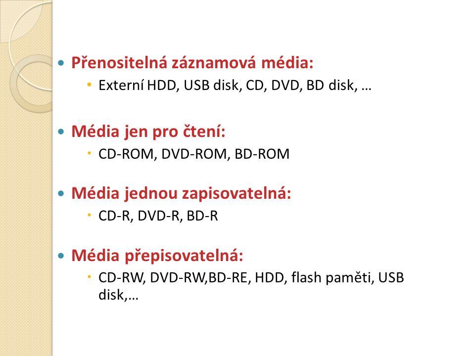 Přenositelná záznamová média: Externí HDD, USB disk, CD, DVD, BD disk, … Média jen pro čtení:  CD-ROM, DVD-ROM, BD-ROM Média jednou zapisovatelná:  CD-R, DVD-R, BD-R Média přepisovatelná:  CD-RW, DVD-RW,BD-RE, HDD, flash paměti, USB disk,…