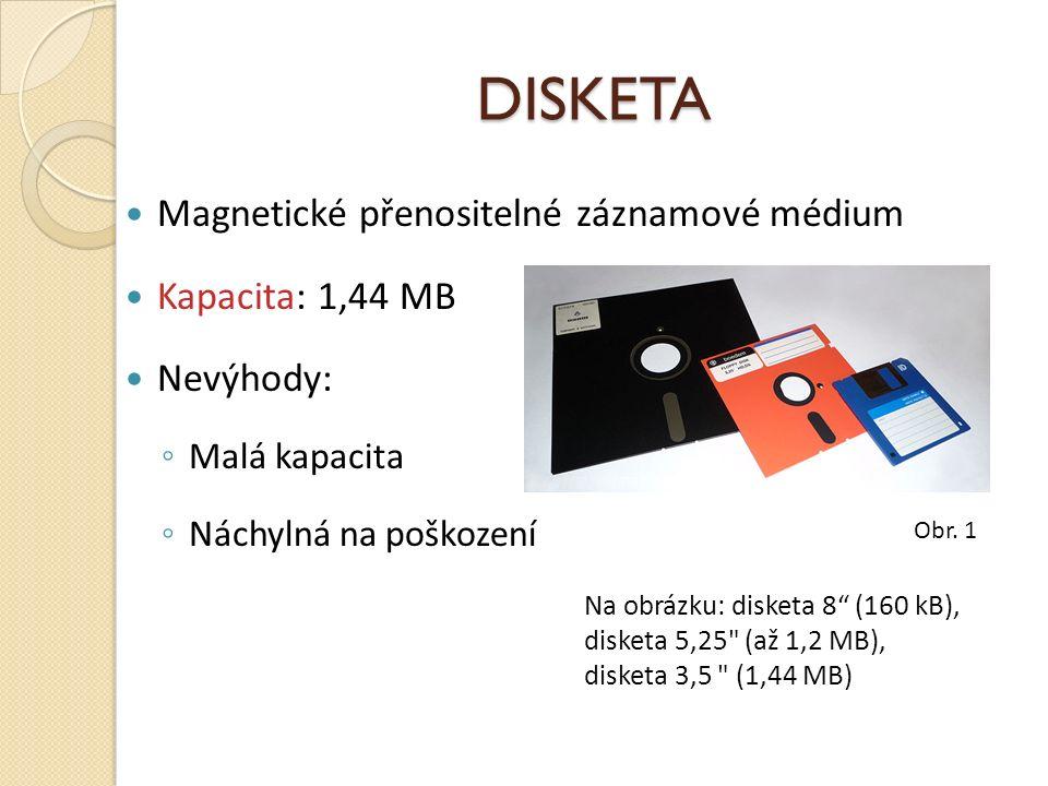 DISKETA Magnetické přenositelné záznamové médium Kapacita: 1,44 MB Nevýhody: ◦ Malá kapacita ◦ Náchylná na poškození Na obrázku: disketa 8 (160 kB), disketa 5,25 (až 1,2 MB), disketa 3,5 (1,44 MB) Obr.