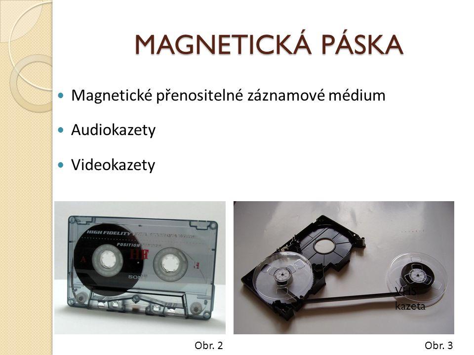 MAGNETICKÁ PÁSKA Magnetické přenositelné záznamové médium Audiokazety Videokazety Obr.