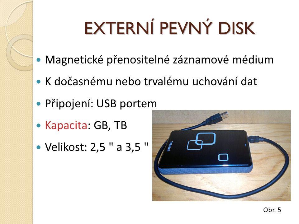 EXTERNÍ PEVNÝ DISK Magnetické přenositelné záznamové médium K dočasnému nebo trvalému uchování dat Připojení: USB portem Kapacita: GB, TB Velikost: 2,