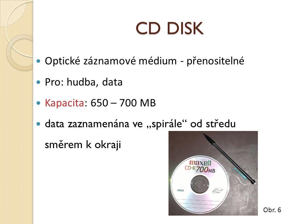 """CD DISK Optické záznamové médium - přenositelné Pro: hudba, data Kapacita: 650 – 700 MB data zaznamenána ve """"spirále"""" od středu směrem k okraji Obr. 6"""